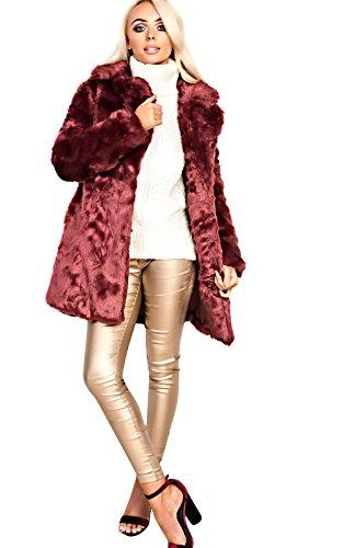 Women's Ladies Stunning Faux Fur Oversized Glam Jacket Wine