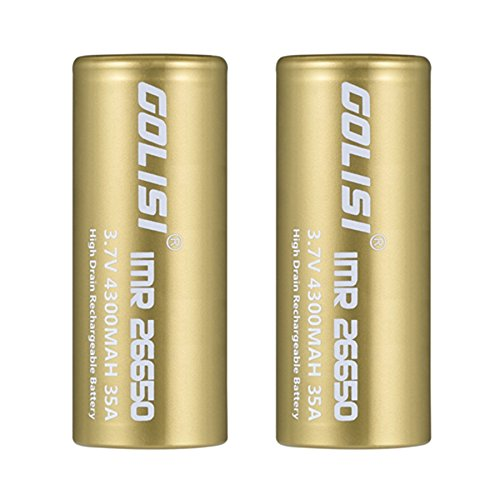Rechargeable 26650 Akku, 2 Stücke 4300mAh Akkus Wiederaufladbar Batterien von GOLISI, 3,7V IMR Batterien CDC 35A Lithium-Ionen-Batterien High Drain Akku für E-Zigarette, VAPE, High Power Taschenlampe, kann vom Akkuladegerät / Batterieladegerät aufgeladen werden, - Topgio (26650 4300mAh)