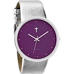Belief Women's | Funky Minimalist Large Purple Face Metalic Silver Band Watch with Cross Logo | BF9658PR