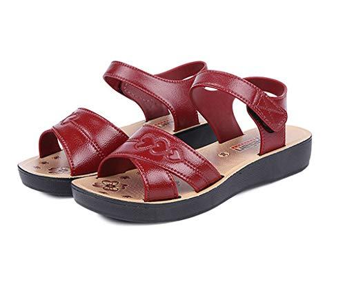 COZOCO Damen Sommer Wohnungen Bottom Love Pattern Schuhe atmungsaktive weiche untere Sandalen Haken & Loop Schuhe(rot,39 EU)
