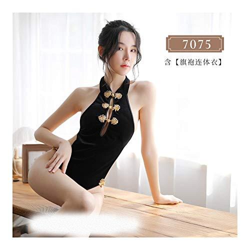 XIEWEICHAO Neid erotische Dessous sexy Uniform Versuchung klassischen Schnalle Riemen nackten Rücken siamesischen cheongsam Anzug Kombination 7075 (Color : Black, Size : Einheitsgröße) -