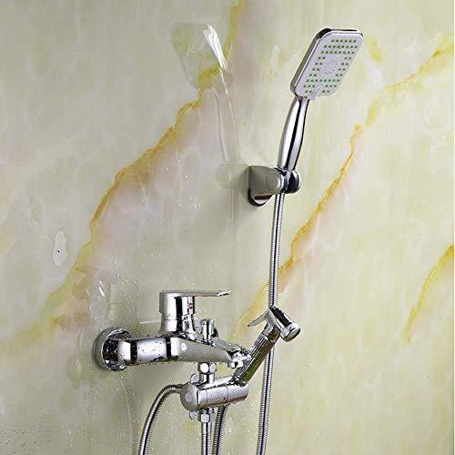 Wall Mounted Bath Shower Mixer Standard Wall-Mount Bath Filler with Shower Tap Head Chrome Modern Open Spout,c - Chrome Mixer