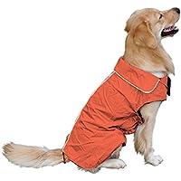 Impermeable, perro, mascota, impermeable, impermeable, impermeable, chaqueta de seguridad, para la noche, cálido forro polar forrado, protector de pecho para perros pequeños, medianos y grandes naranja-M