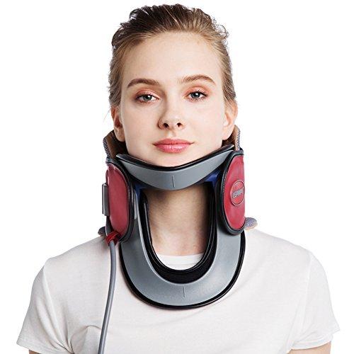 Byjia Hals-Zervix-Traktions-Gerät Medizinisch Beweglich Entlastung Vom Ansatz Und Von Den Oberen Rückenschmerzen Für Männer Und Frauen,Red