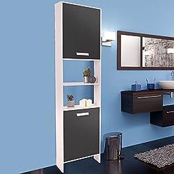 ProBache - Meuble colonne salle de bain design en bois blanc portes grises