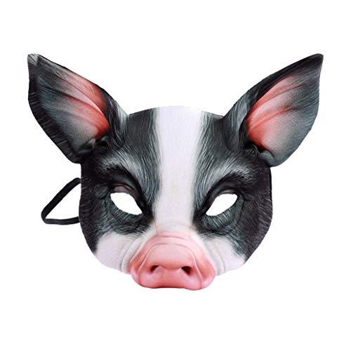 Mann Zombie Pig Kostüm - BaojunHT Tiermaske Deluxe Neuheit Halloween Kostüm Party Latex Schwein/Bull/Drache Halbmaske für Erwachsene und Kinder Pig_Black