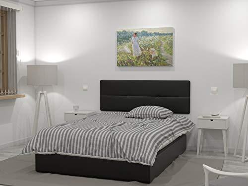 LA WEB DEL COLCHON Cabecero de Cama tapizado Acolchado Julie 145 x 55 cms. para Camas de 135 y 140 cms. Polipel Color Negro. Incluye herrajes para Colgar con regulador de Altura
