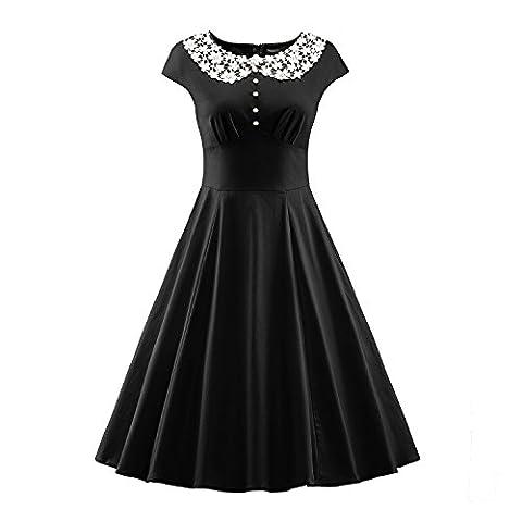LUOUSE Damen Vintage Rockabilly Business Retro 50er Jahr Stil Cocktailkleid,Black,XXL