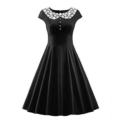 LUOUSE Damen Vintage Rockabilly Business Retro 50er Jahr Stil (Jahre Kleidung 50er Stil Der)