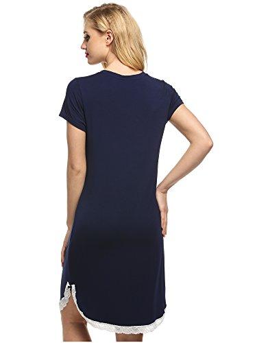 Ekouaer -  Camicia da notte  - Donna Blu navy
