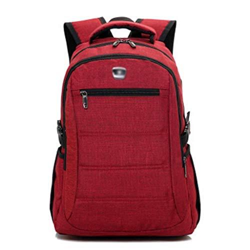 TONGSH Intelligenter Rucksack USB-Lade-Rucksack Unisex-Nylon-Schultaschen Wanderrucksack kühlen Sportrucksack Laptop-Rucksack Schulrucksack (Farbe : Rot)