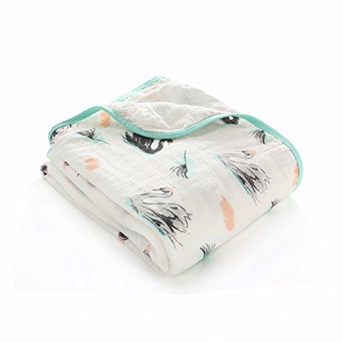 100% Musselin Baumwolle Decke Doppelte Schichten Baby Jungen und Mädchen Swaddle & Receiving blanket-unisex Große 120x150 cm, Dick Warme Babydecke Pucktuch Packungen für Neugeborene, Schwan
