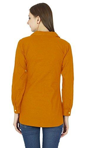 Button Down Top À Manches Longues Kurta Coton Shirt Vêtements Rust Orange