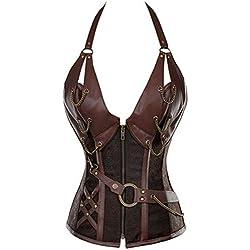 Corsé de cuero con adornos de acero, entrenamiento para cintura, talla grande, para mujer Marrón marrón (38-38-40)XL