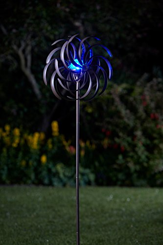 Hochwertiges Metall Windrad mit LED Beleuchtung | Großes Solar Windspiel beleuchtet mit Kristall Kugel und Farbwechsel LED | wunderschöne Deko tolle Lichteffekte | 130 cm hoch