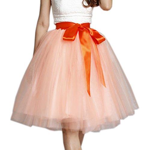 Wedding Lady - Gonna in tulle da donna, lunga al ginocchio, con fiocco, per abito nuziale Light Orange