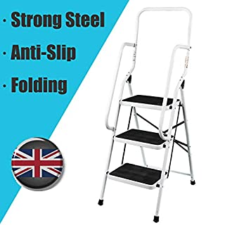 Autofather 3 Step Ladder with Handrail Support Safety Non Slip Mat Heavy Duty Steel Folding Portable Stepladder Kitchen Stool Home Garden Tool DIY
