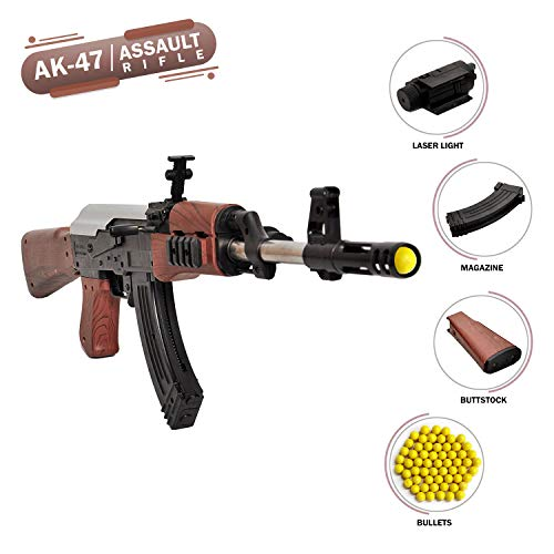 NHR AK47 Toy Gun with Laser Light and 500 Bullets (Multicolor)