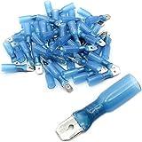Kabelschuh Flachstecker Stecker Quetschverbinder mit Schrumpfschlauch teilisoliert Männlich Steckbreite 6,3 mm Blau für Kabel 1.5-2.5mm² (50 Stück)