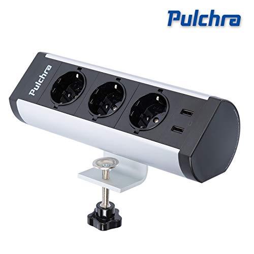 Pulchra Tischsteckdose 3 Fach horizontale Tischsteckdosenleiste Mehrfachsteckdose mit 2 USB-Anschlüsse, Steckdosenleiste mit 1,5m Anschlusskabel, für Büro(3 Socket, 2 USB, New)