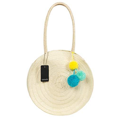he Rattan Umhängetasche Handgewebte runde Rattan Korb Tasche Stroh gewebt Handtasche Sommer Strand Geldbörse Handtasche ()