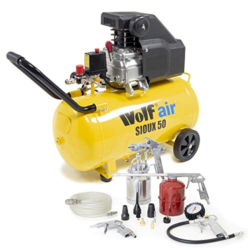Wolf Sioux 50L Air Compressor 9.6CFM 2.5HP 230V 116psi with 13pc Spray Kit & 5m Hose