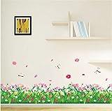 Sshssh Diy Natur Bunte Blumen Gras Libelle Wandaufkleber Für Wohnzimmer Schlafzimmer Wandtattoos Floral Tv Dekoration Wohnkultur 40 * 60 Cm