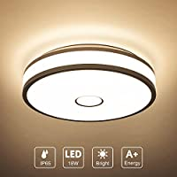 Onforu 18W LED Round Ceiling Light, 1600LM IP65 Waterproof, Bathroom Ceiling Lights, CRI 90, 2700K Warm White Ceiling Lamp with Flush Mount for Living Room, Bedroom, Kitchen