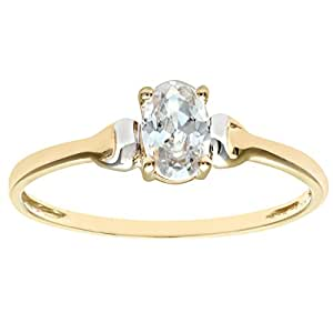 Citerna 9 ct Yellow and White Gold Cubic Zirconia Birth Stone Ring - Size H