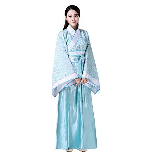 KINDOYO Damen Performances Kostüm Altertümlich Chinesischen Stil Kleidung Nationalen Traditionellen Druck Hanfu Tang Anzug Cosplay Kostüm, Stil-3/M