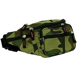 Camuflaje Riñonera-Riñonera Doggy Bag en Military Style Mi 3Compartimentos y Ajustable Cinturón, Color Olivgrün-Braun, tamaño Small