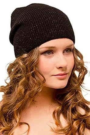 Mütze Damen Braun Glitzer - Damenmütze Winter Wolle Warm - Strickmütze Beanie Slouch Frauen Mädchen Jugendliche - Wintermütze Snowboardmütze Wollmütze - Ski Snowboard Joggen Laufen Fashion Fahrrad