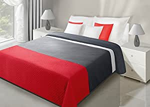 170x210 rot graphit Tagesdecke Steppbettüberwurf Lasersteppung red graphite