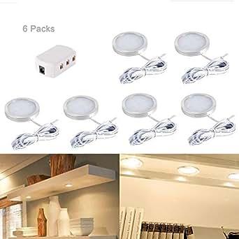 6pcs Interior Led Roof Spot Lights Under Cabinet Lighting Fixture With Splitter Adapter For Dc 12v Rv Camper Caravan Boat Kitchen Living Room Warm