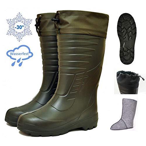 Botas térmicas de goma EVA para temperaturas de hasta -30°C, con funda interior de fieltro, botas de caza, botas de pesca, de pescador, botas térmicas de invierno, 42