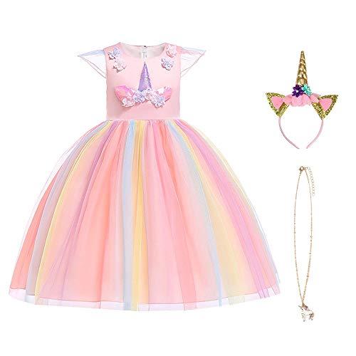 URAQT Mädchen Einhorn Rüschen Blumen Cosplay Party Kleid Hochzeit Prinzessin Kleid, Regenbogen 140CM (Regenbogen-hochzeit Kleid)