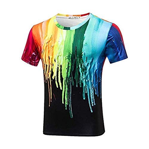 HAOGE 3D Digital Print T-Shirt LGBT Rainbow Gay Pride Crew Neck Short Sleeve Comfort Stretch Summer Casual Tees for Men (Of Digital Us Last The)