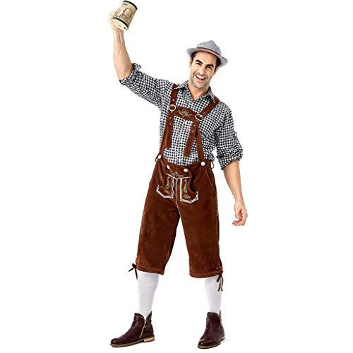 Chejarity Herren Trachtenhose Kniebundhose 2 TLG:Kariert Trachtenbluse,Trägerhose Oktoberfest Bierfest Kostüm Bestickt Bayerische Bar Set Halloween Traditionelle Kleidung Lederhose (L, - Kostüm Aus Ihrer Eigenen Kleidung