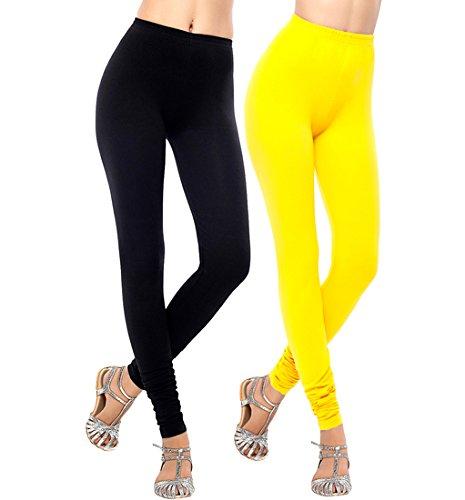 SHREEMANGALAMMART Yellow & Black cotton lycra legging