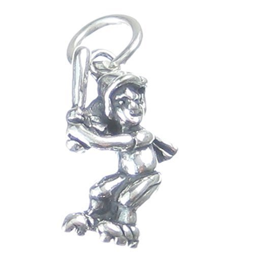 Baseball Batter 2d Ciondolo in argento Sterling 925 x1 Base Ball Pastelle Charms cf2945