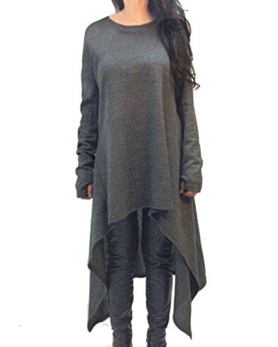 Jersey Langarm-bluse (ZANZEA Damen Unregelmäßige Strick Oversize Langarm Pullikleid Longshirt Top Minikleid Grau EU 40-42/Etikettgröße M)