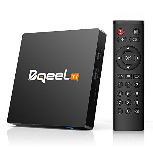 Android TV Box 7.1 1GB/8GB Y1 Bqeel TV Box Android Quad-Core 64bits Wi-FI 2.4G 802.11 b/g/n Gigabit 4K Android Smart TV Box H.265 HD