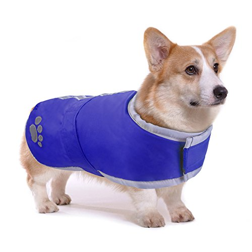 PETBABA Manteau Chien Hiver, Chaud Veste avec Doux Polaire Réfléchissant Parka Vêtements pour Chien en Bleu