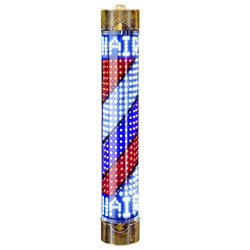 125cm Retro Barbierstab Leuchtkugel Barber Pole Im Freien Wasserdicht LED Birne Rot, Weiß und Blau Beleuchtende Rotierende Streifen,Tricolor