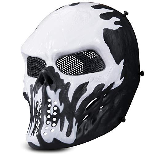 Kuyou Airsoft Maske Tactical Paintball Full Face Skull Mask Mesh Augenschutz Maske Kostüm Maske (Weiß)