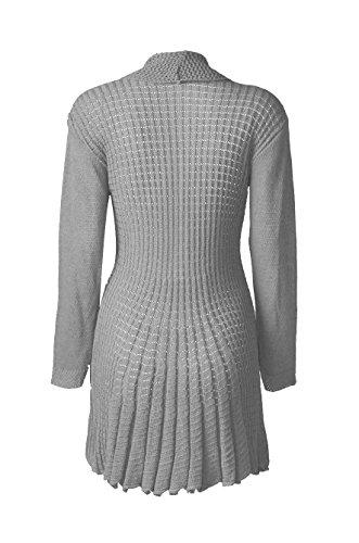 Fast Fashion - Cardigan Manches Longues Crocheter Plaine Chute D'eau Tricoté Sweater - Femmes Gris