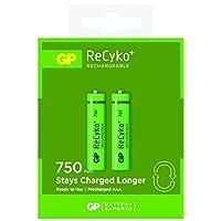 GP Batteries Recyko+ 750 AAA İnce Kalem Ni-MH Şarjlı Pil, 1.2 Volt, 2'li Kart, Yeşil/Siyah
