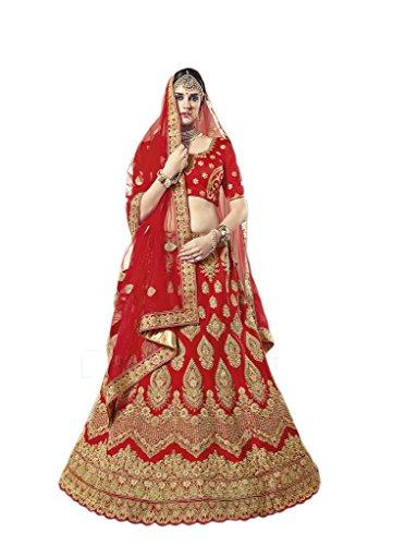 Indian Latest Designer Color Red Art Silk Bridal Lehenga Choli