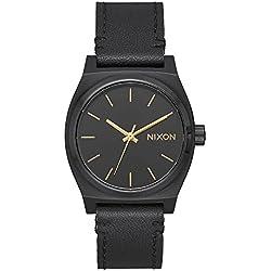 Nixon Medium Time Teller - Reloj (Reloj de pulsera, Femenino, Acero inoxidable, Negro, Cuero, Negro)