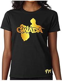 T-shirt Femme Guadeloupe 971 Gwada Noir et Or Métallisé